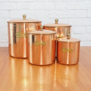Vintage Benjamin and Medwin Copper Canisters / Kitchen Storage Canisters / Farmhouse Cottage Kitchen