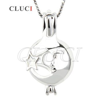 CLUCI women jewelry 925 sterling silver Star and Face ball shape hollow locket cage pendant for making pearls necklace 3pcs