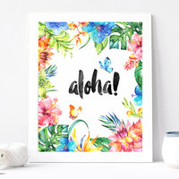 Aloha, Tropical Digital Print, Wall Decor, Watercolor, Hawaiian Beach , Vintage, Colorful, Positive Thinking, Poster Art, Inspiration