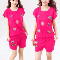 Patchwork Top and Shorts Set