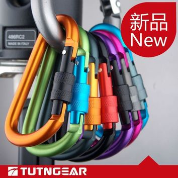 High quality  type D mountaineering buckle 8mm mosqueton hung with a lock climbing carabiner aluminum alloy buckle keychain