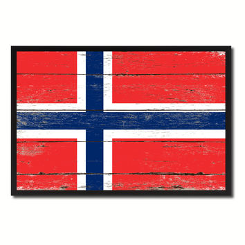 Norway Country National Flag Vintage Canvas Print with Picture Frame Home Decor Wall Art Collection Gift Ideas