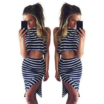 Striped Crop Top and Slits Mini Dress