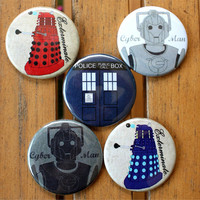 Doctor Who button set - pinback button pack - sci-fi buttons - Tardis - Dalek - Cyberman Button Pack