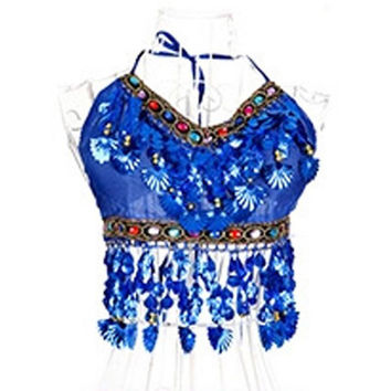 Women Belly Dance Costumes Bra Tops Crystal Sequins Beads Bells Sexy Vest