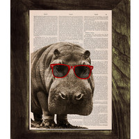 Cool Hippo with Sunglasses - Home decor THEE HIP-PO Animal art printed on Vintage Book sheet - Nursery wall art