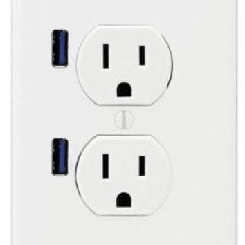 FastMac ACE-7169 U-Socket Standard Duplex Dual Outlet Dual USB, 110V, 15AMP TruePower, White:Amazon:Home Improvement
