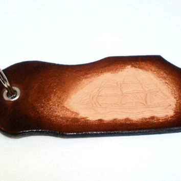 Leather key ring with sailing boat, tall boat, key fob, hand tooled leather