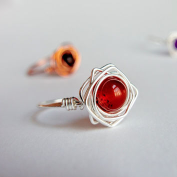 Carnelian Wire Ring ~ Birthstone Jewellery Gift For Women, Gift For Bride From Bridesmaid, Sacral Chakra Gift, Yoga Gift For Her