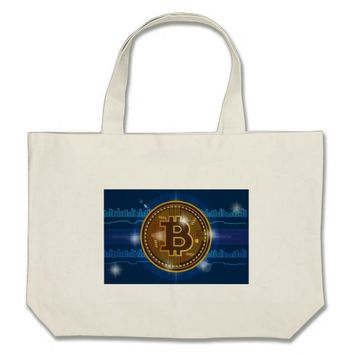 Cool Bitcoin logo and graph Design Large Tote Bag