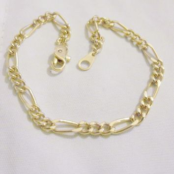 bling 14k yellow gold plated 3mm 8in figaro wrist bracelet bracelets trendy fashion thin skinny small jewelry.hip hop