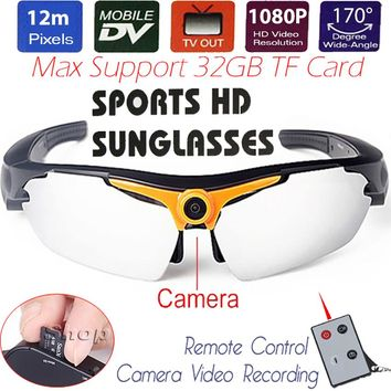 12MP CMOS Sports Sunglasses Mini DV Sunglasses Motion Camera 1080P HD Digital Video Recorder Photo DVR TF USB TV Remote Control