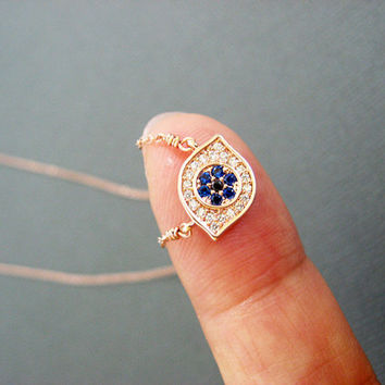 Evil Eye Necklace, Dainty charm necklace, Rose gold Evil Eye Jewelry, celebrity inspired jewelry, Lotus411