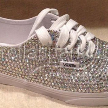 100% Genuine Rhinestone Crystal Vans Shoes- Bridal Prom Romany Trainers 368f3b98ff9e