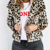 CHASER Cheetah Print Faux Fur Jacket