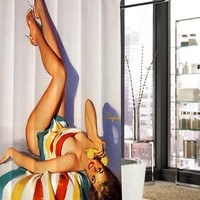sexy vintage pin up retro shower curtain, curtains, shower curtains size 36x72 48x72 60x72 66x72