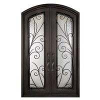 Iron Doors Unlimited Flusso Center Arch Light Bronze Decorative Wrought Iron Entry Door-IF6298RELW at The Home Depot