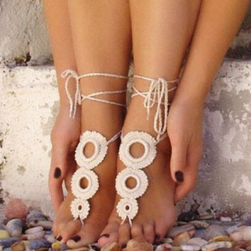EthnicWhite Lace Anklet Bracelet Crochet Barefoot Sandals Foot Jewelry Accessory Gift-05