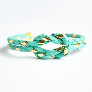 Tiffany turquoise & metallic gold bolo cord forever knot nautical rope bracelet with choice of gold anchor/ship wheel/starfish/heart charm