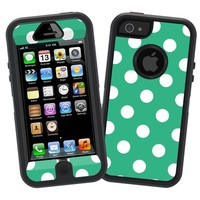 "White Polka Dot on Teal Green ""Protective Decal Skin"" for Otterbox Defender iPhone 5 Case"