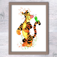Tigger watercolor print Winnie the Pooh decor Disney art poster Home decoration Child room decor Baby shower gift Nursery room wall art V64
