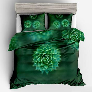 Cool Green Succulents 3D Bedding Sets Duvet Cover Set Flower Plant Printed 3pcs Floral Bed Cover twin full queen King Home textileAT_93_12