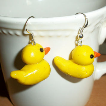 Rubbery Ducky Earrings with Hypoallergenic Ear by moonknightjewels