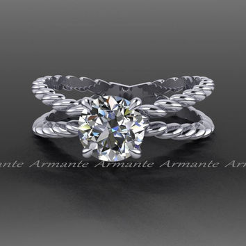 Forever One Moissanite Platinum Engagement Ring, Criss Cross Solitaire Ring 1.00 Carat Round Moissanite Engagement Ring RE00087PLFO