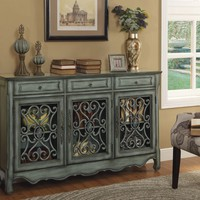 Modern Farmhouse Green/Grey Painted Credenza