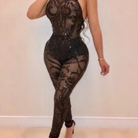 New Black Floral Sequin Halter Neck Backless Sheer Sparkly Clubwear Party Long Jumpsuit