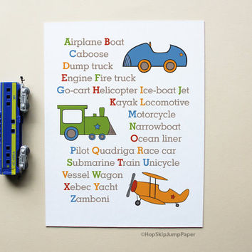 Alphabet Art Transportation Kids Art Poster -Train, Plane, Car, Nursery Kids Wall Art Room Decor Baby Shower Gift