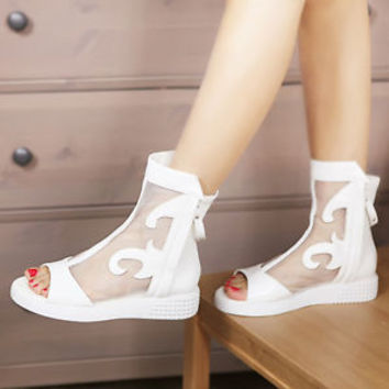 Sexy Summer Womens Open Toe Mesh Patent Leather Zip Boots Sandals Hollow Shoes