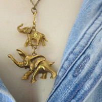 Vintage gold double elephant necklace boho chic tribal jewelry baby and mom signed art charm on chain / pendant
