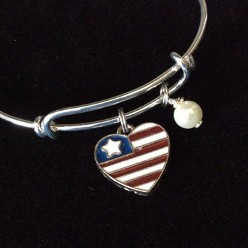 Heart Shaped US Flag Charm with Swarovski Pearl Wire Wrapped Handmade Expandable Charm Bracelet Adjustable Bangle Gift  Trendy