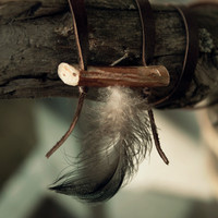 FREE SHIPPING - Feather necklace with a hair stick - Wooden necklace - Upcycled leather necklace - Viking hair stick