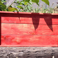 Distressed red shabby chic rustic wooden serving tray with handles, rustic wedding, wedding gift