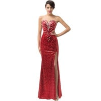 New!Grace karin Strapless Split Ball Party Gown Sequins Red Carpet dresses Long prom dress Formal evening gowns CL6102