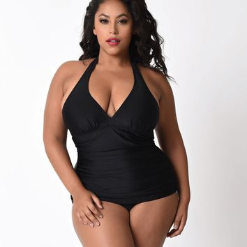 Bettie Page Plus Size Black Halter Top Ruched One Piece Swimsuit