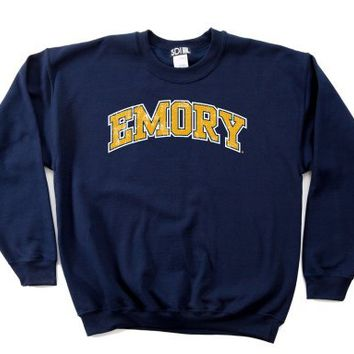 NCAA Emory Eagles 50/50 Blended 8-Ounce Vintage Arch Crewneck Sweatshirt