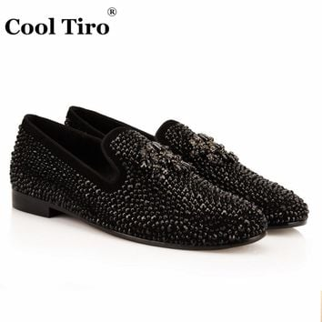 COOL TIRO New Flats Smoking Slippers Hot drilling tassels Dress Casual Party Wedding loafers