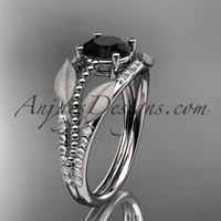platinum diamond leaf and vine wedding ring, engagement ring with Black Diamond center stone ADLR75