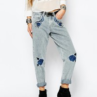 Glamorous Floral Embroidered Slim Boyfriend Jeans