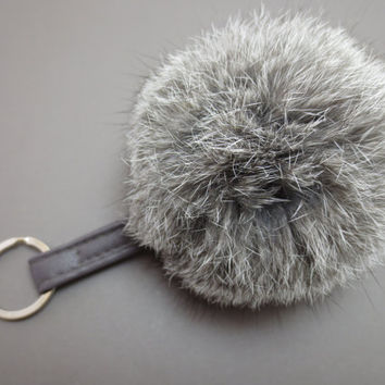 Gray, Pom Pom, Keychain, Pom, Pom, Keyring, White, Leather, Rabbit, Fur, Pom Pom, Key, Chain, Key, Ring, Gift, Jewelry