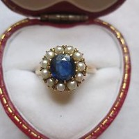 Antique 18ct Gold 2ct Sapphire And Seed Pearl Ring. Size P.