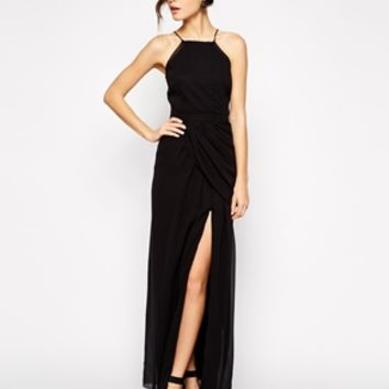 VLabel London Temple High Neck Maxi Dress With Thigh Split