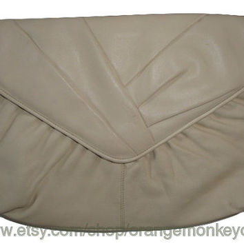 Free Ship vintage CADAZ creamy white LEATHER envelope Clutch evening bAG Purse handbag
