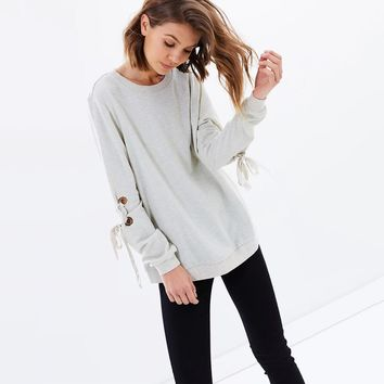Fashion simple solid color cuffs casual loose sweater