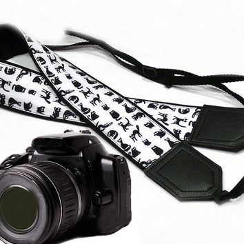 Cat camera strap. Black and white. DSLR / SLR Camera Strap. Camera accessories.  For Sony, canon, nikon, panasonic, fuji and other cameras.