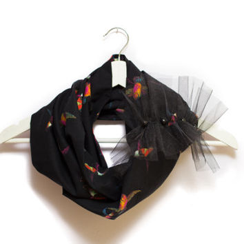 Black Infinity Scarf, Scarf With Birds, Spring Summer Scarf, Cotton and Tulle, One Of a Kind,