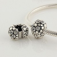 1pc 925 Sterling Silver Clasp Pebble Charms Crystal Stopper Beads Compatible with Pandora Chamilia Kay Troll European Bracelets